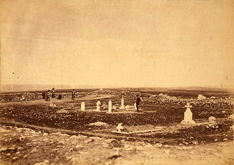 The cemetery Cathcart's Hill - the Picquet House, Victoria Redoubt and the Redoubt des Anglais in the distance