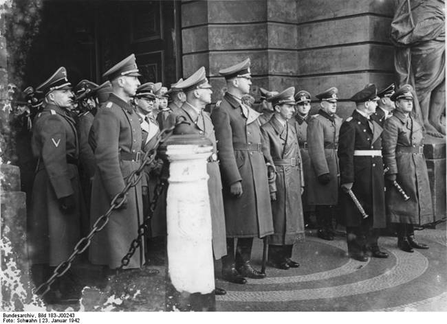 Wilhelm Frick, Philipp Bouhler, Friedrich Fromm, Joseph Goebbels, Erich Raeder, and Erhard Milch at Field Marshal Reichenau's funeral procession, 23 Jan 1942