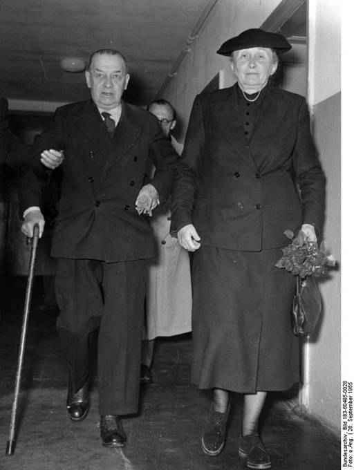 Erich Raeder and his wife on the date of his release from Spandau prison, Berlin, Germany, 26 Sep 1955