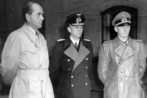 Speer, Dönitz, and Jodl immediately after being arrested by British troops, 23 May 1945