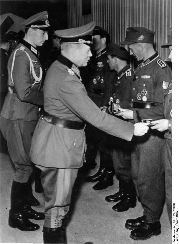 Heinz Guderian presenting awards to German soldiers, Mar 1945