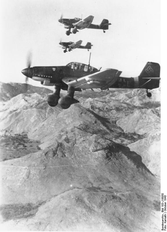 Three Ju 87D Stuka dive bombers in flight, Yugoslavia, Oct 1943