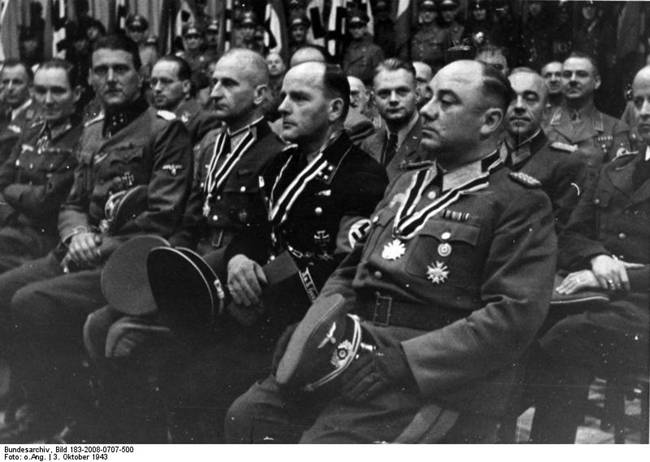 Otto Skorzeny, Helmut Körner, Fritz Reinhardt, and Kurt Zschirnt at a rally at the Sportpalast in Berlin, Germany, 3 Oct 1943, photo 2 of 2
