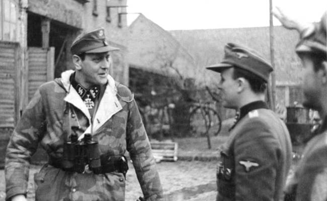 German SS Obersturmbannführer Otto Skorzeny speaking with troops, in Pomerania, Germany, Feb 1945