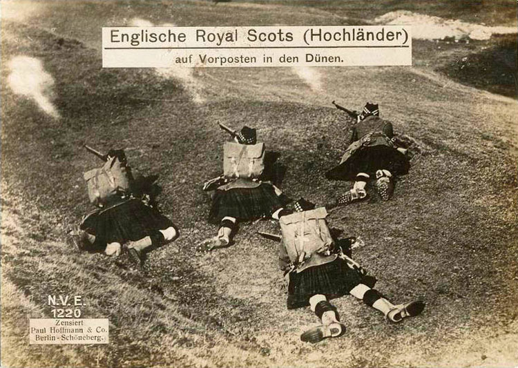 English Royal Scotts (Highlanders) on outpost in the dunes.