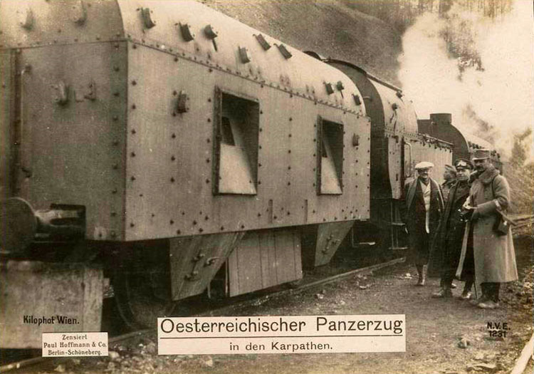 Austrian armoured train in the Carpathian Mountains.